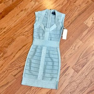 French Connection Silver Bandage Dress NWT Size 0